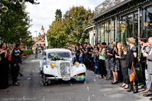 vintage wedding transportation