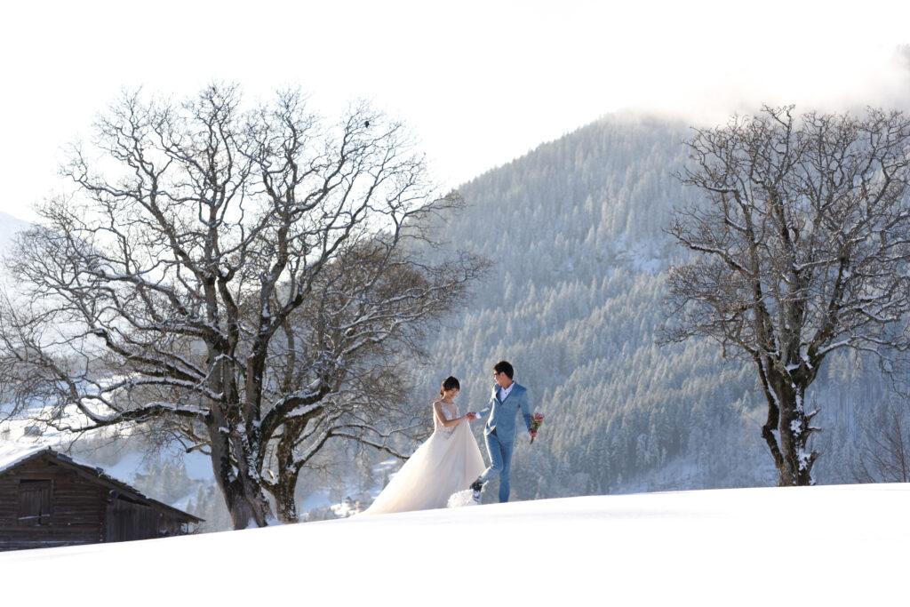 pre wedding photos in Switzerland alps